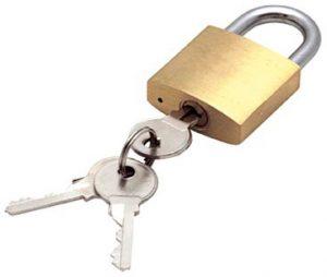 Hengelås med nøkkel